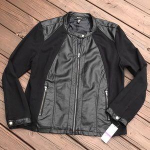 NWT Style and Co Mixed media Biker Jacket